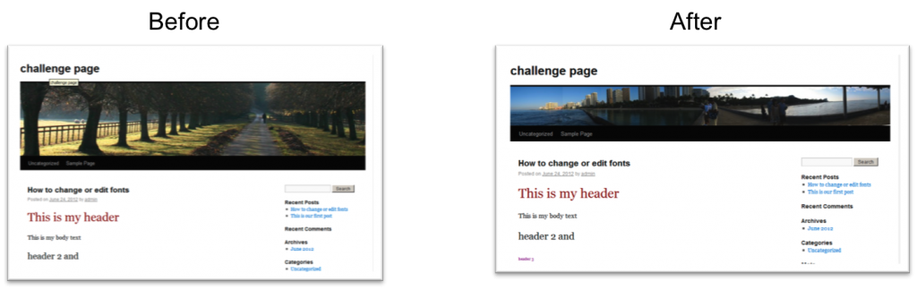 changing the banner on wordpress tutorial
