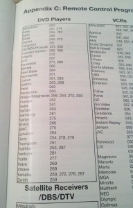 DVD remote control codes from Mitsubishi Television manual